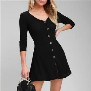 LULU'S Black Button Front Knit Swing Dress NWT